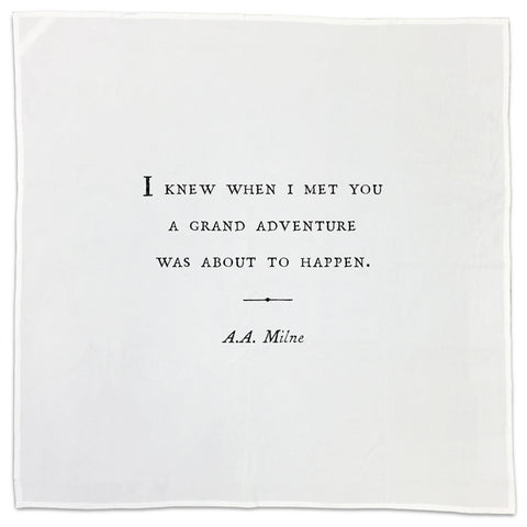 A.A. Milne Friendship Quote Tea Towel or Napkin