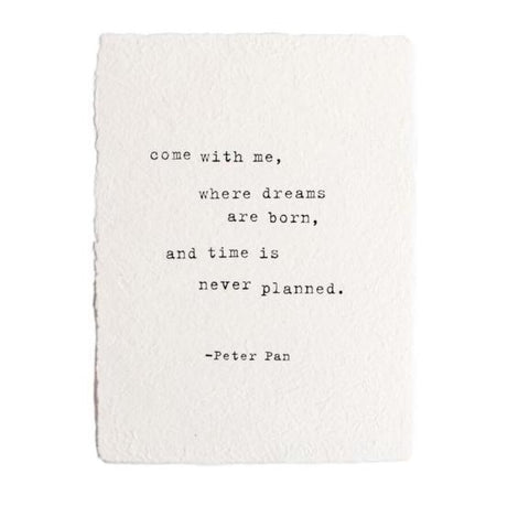 Handmade Paper Print Quote From Peter Pan