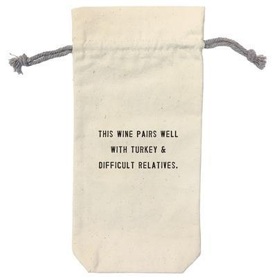 Wine Bag with Humorous Thanksgiving Quote