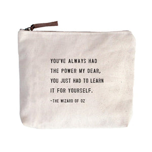 Wizard of Oz Quote Canvas Zip Bags