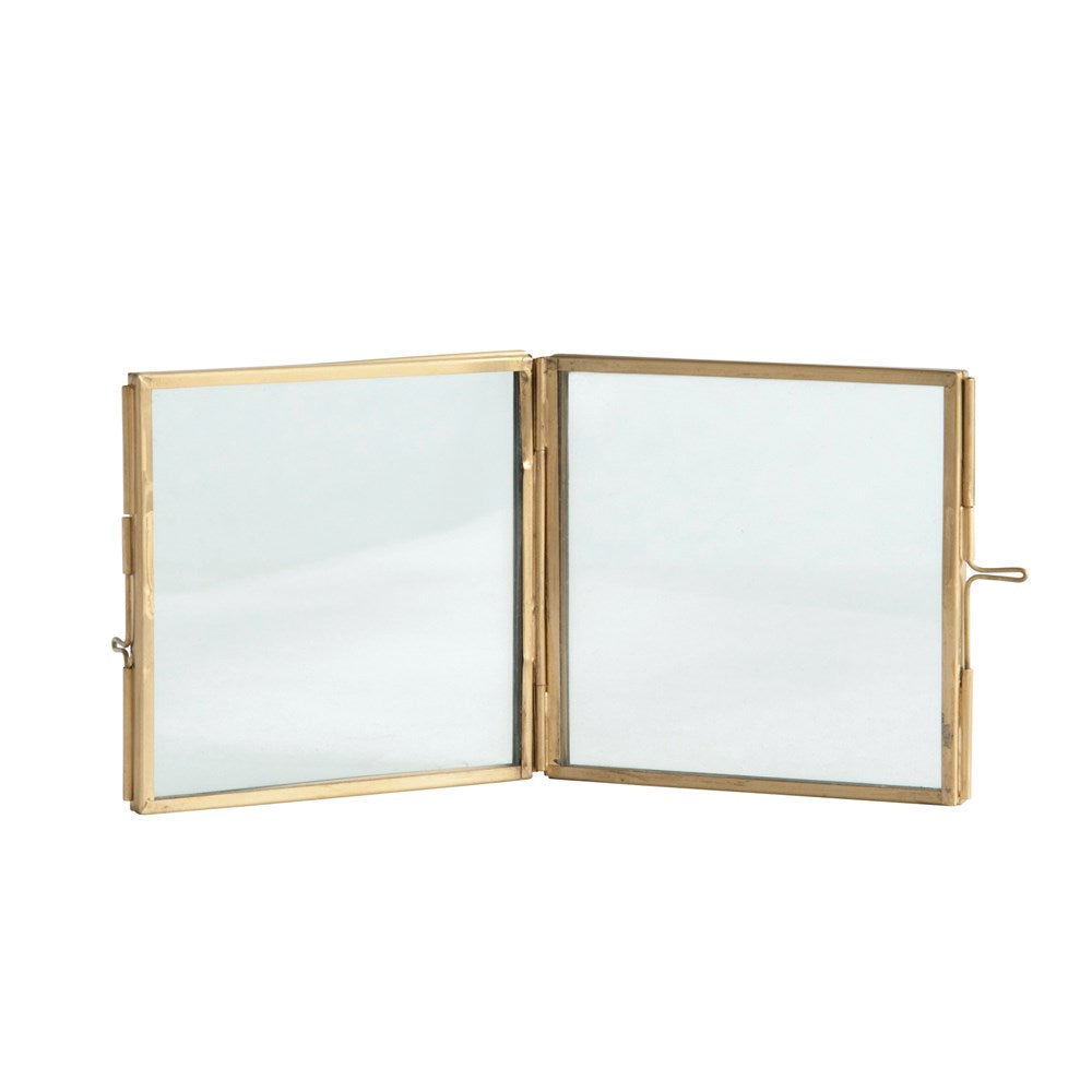 Hinged Brass & Glass Photo Frame