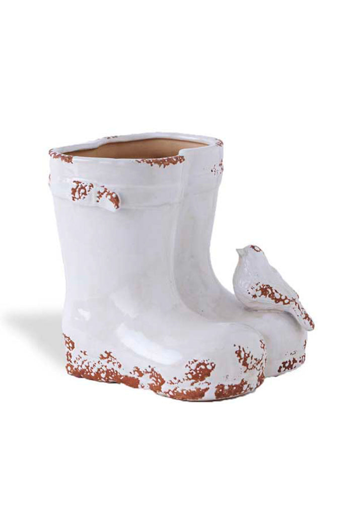 7.5 Inch White Boot Planter