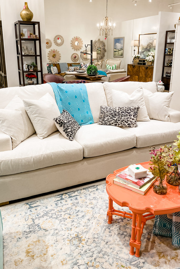 Cambria Estate Sofa in a Crypton Fabric & Linen Finish