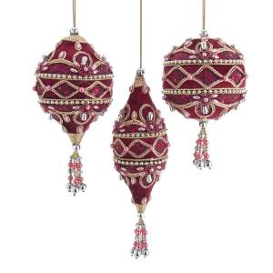 Burgundy & Pink Ornate Ornament