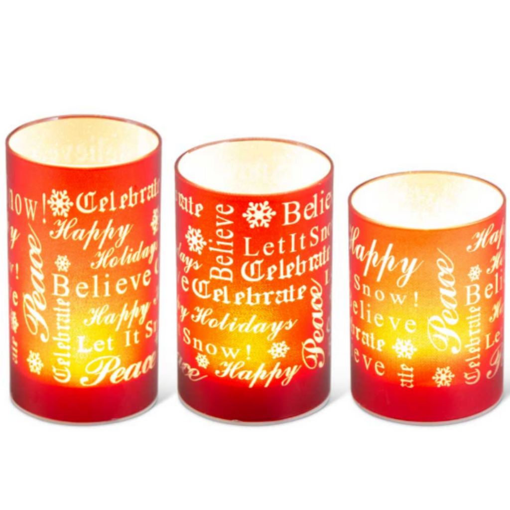 Red LED Glass Votive 5.5""