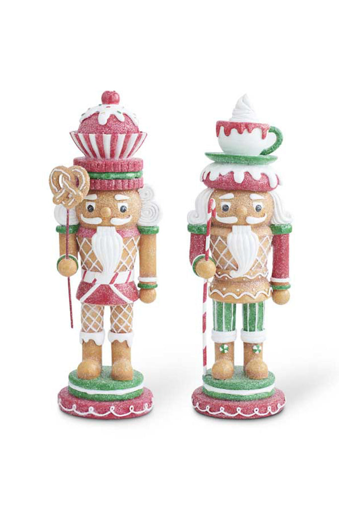 Set of 2 Glittered Gingerbread Nutcrackers