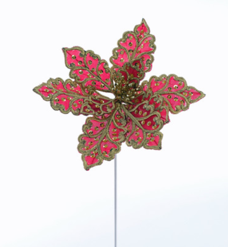 Nutcracker Leaf Poinsettia Pick