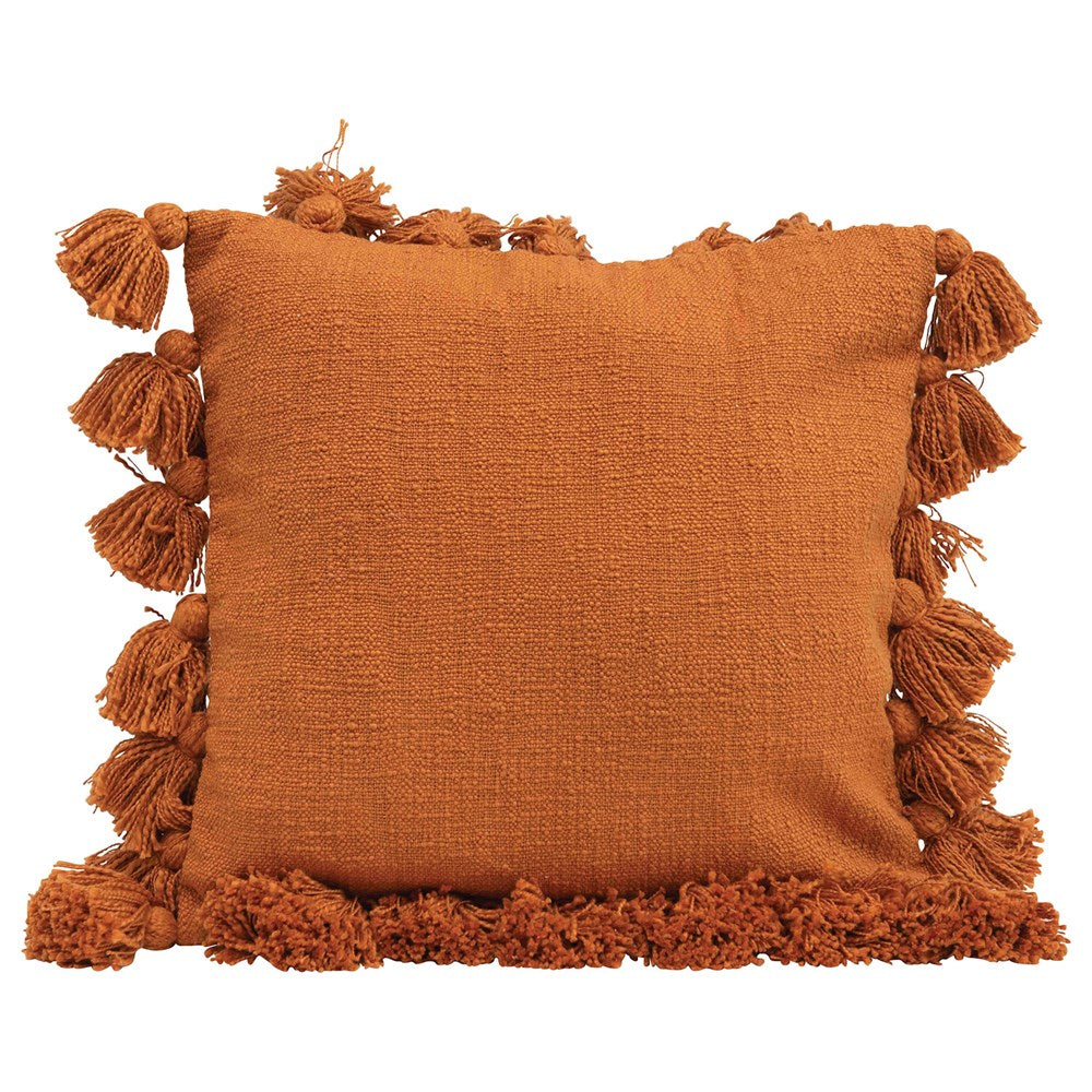"18"" Orange Tassel Pillow"