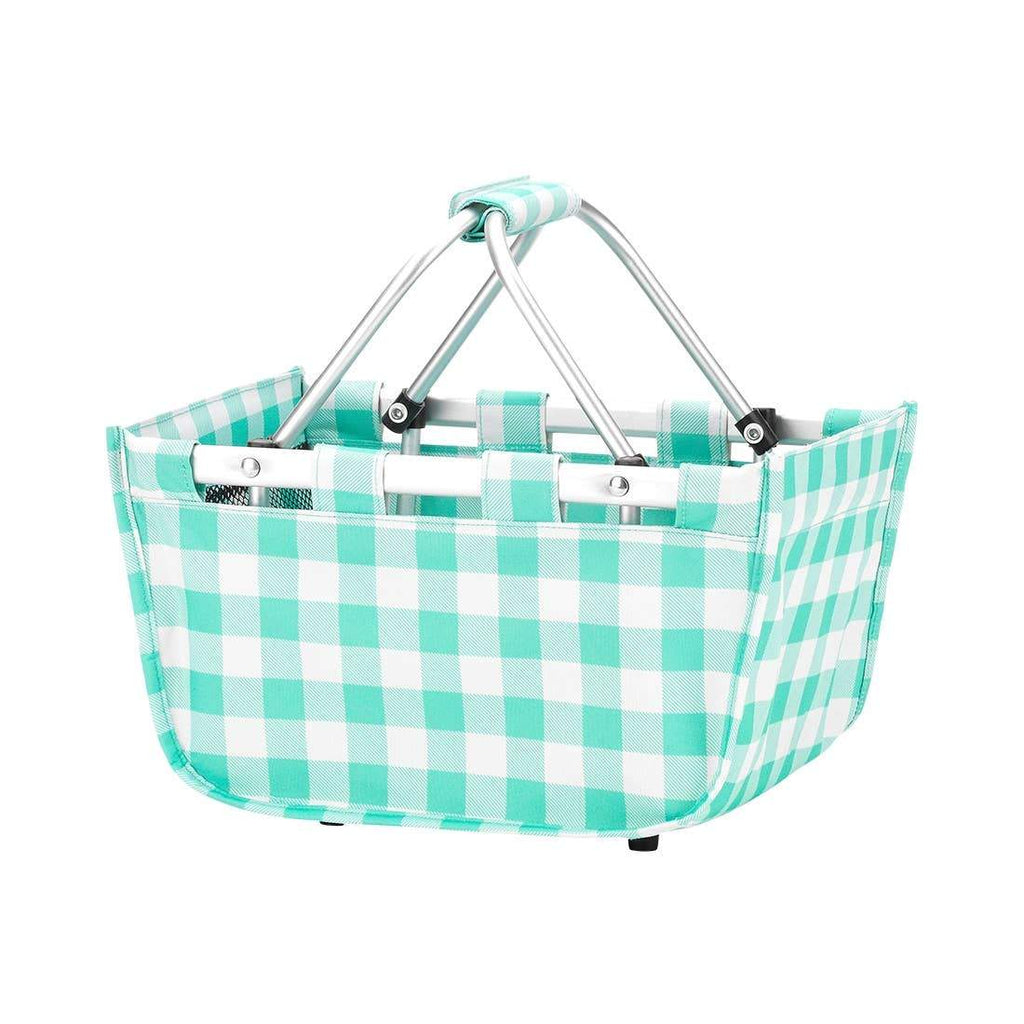 Mint Check Mini Market Tote