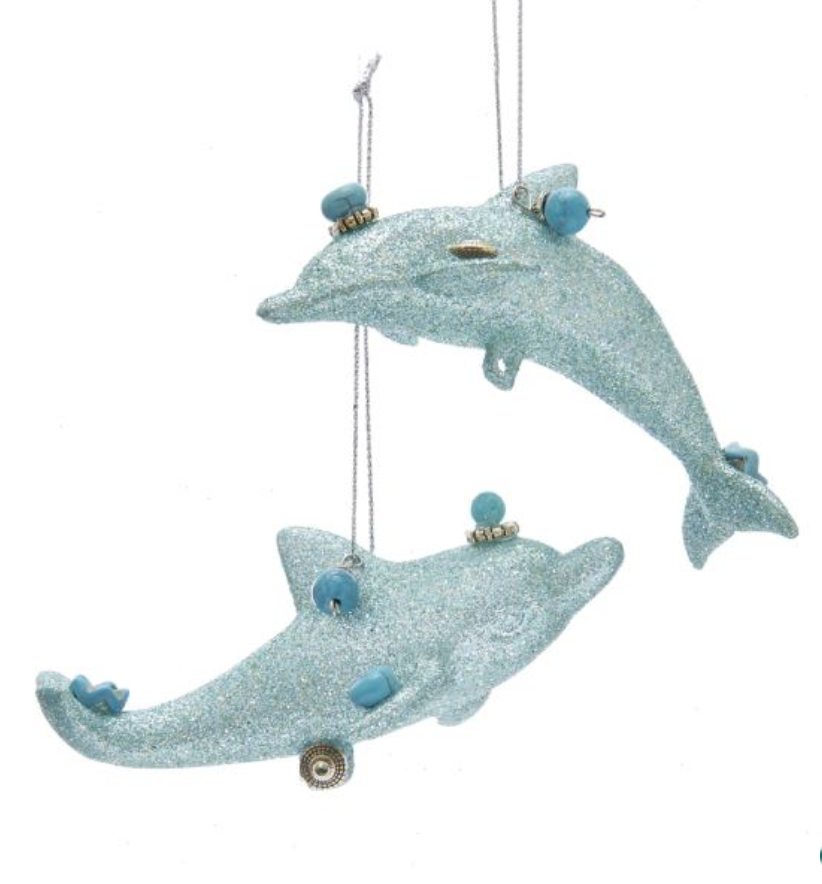 Aqua Dolphin Ornament