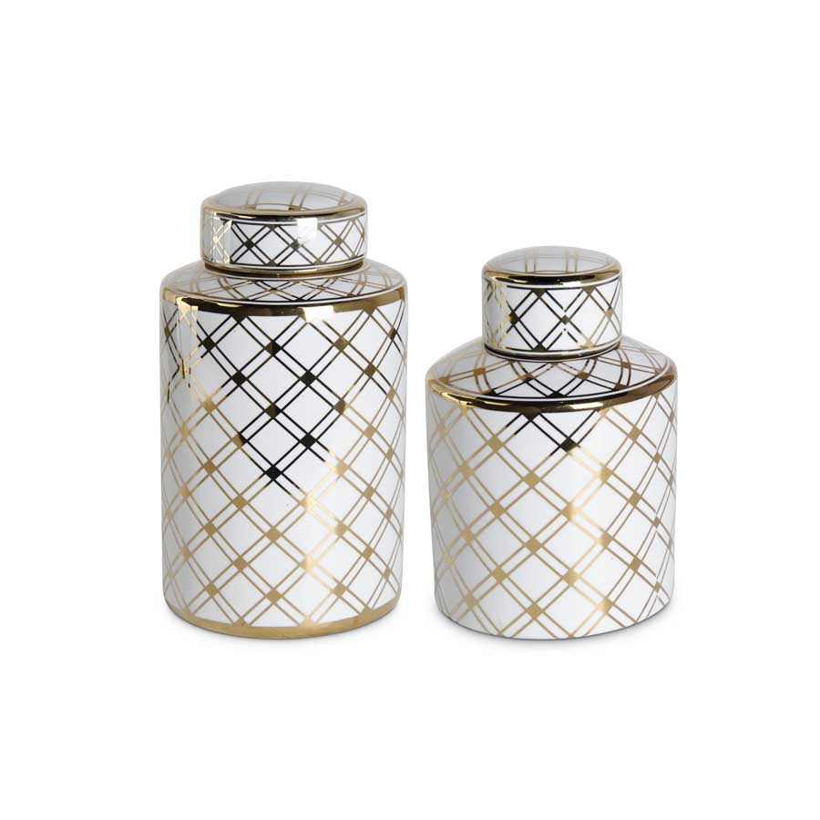 Small Ceramic JarsWith Gold Lattice Pattern