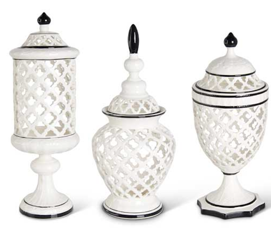 Set/3 Lattice Ceramics With Black Trim