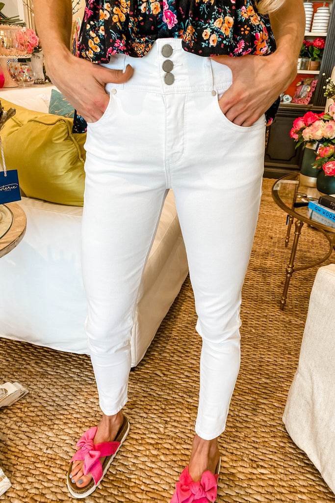 BUTTON FRONT HIGH RISE SKINNY JEAN PANTS