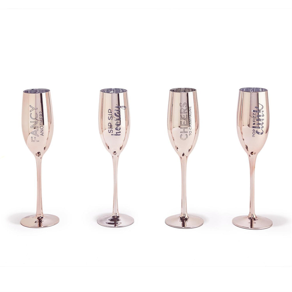 S/2 Rose Gold Champagne Flutes