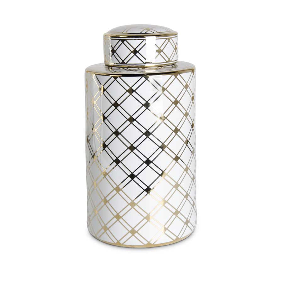 "18"" White Jar With Gold Lattice Pattern"
