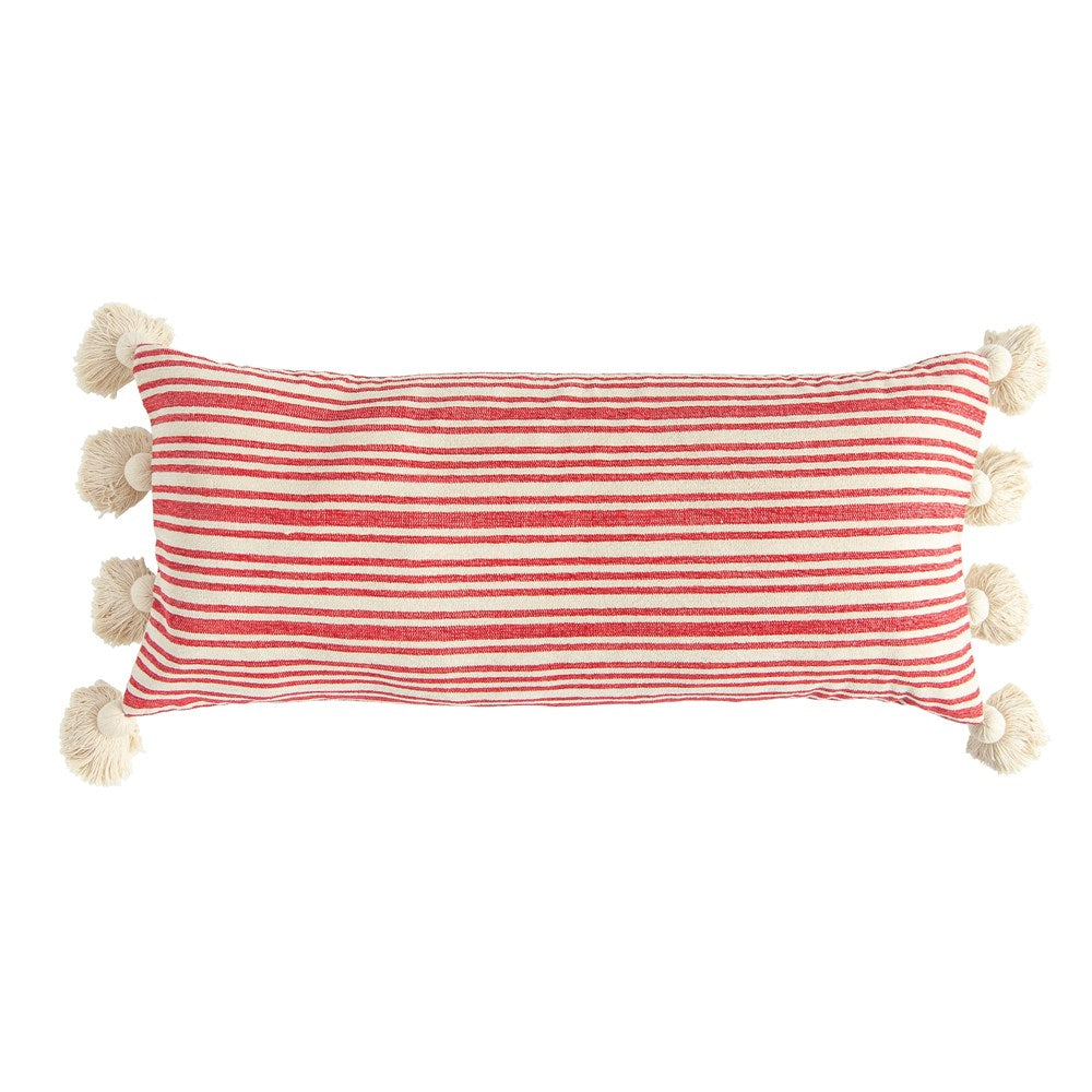 Red Cotton & Chenille Striped Lumbar w/ Tassels