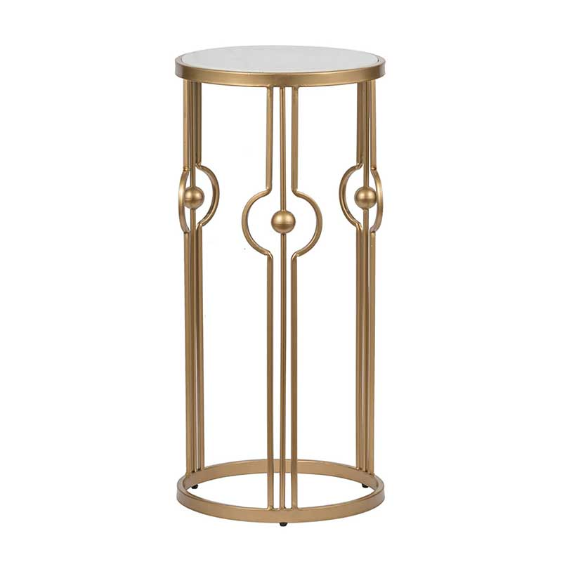 Marble and Brass Geometric Table