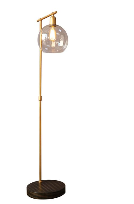 Brass Floor Lamp w/ Glass Shade