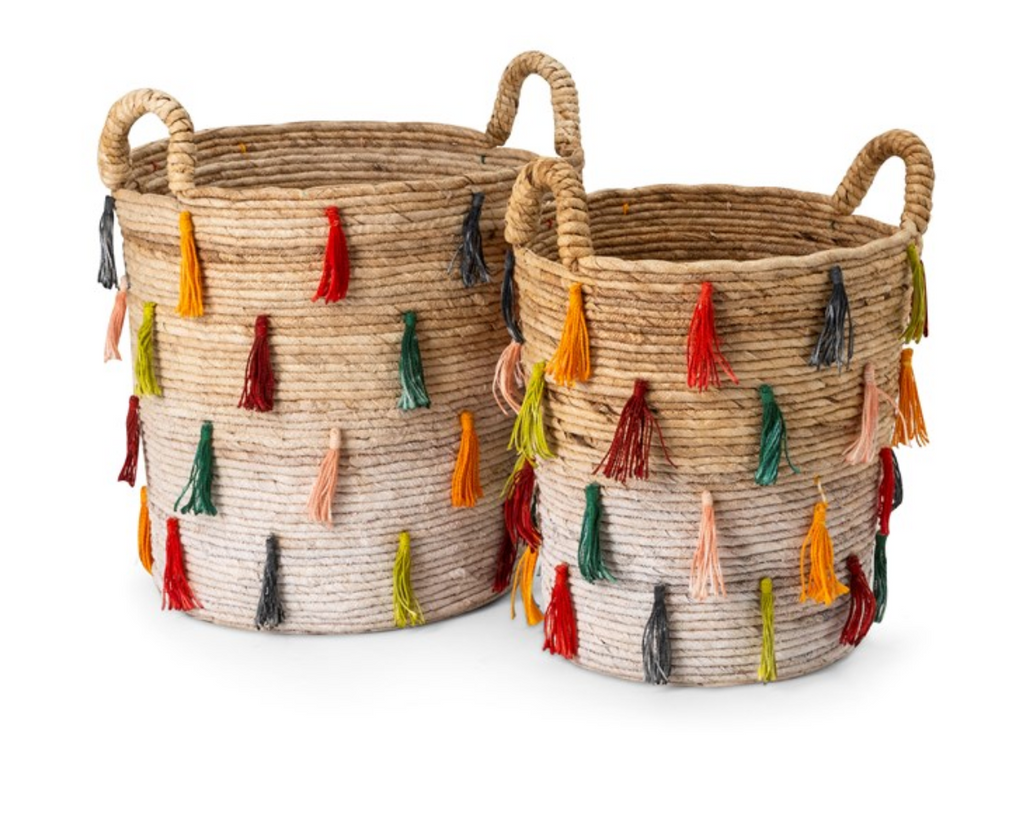 Set of 2 Tassel Baskets