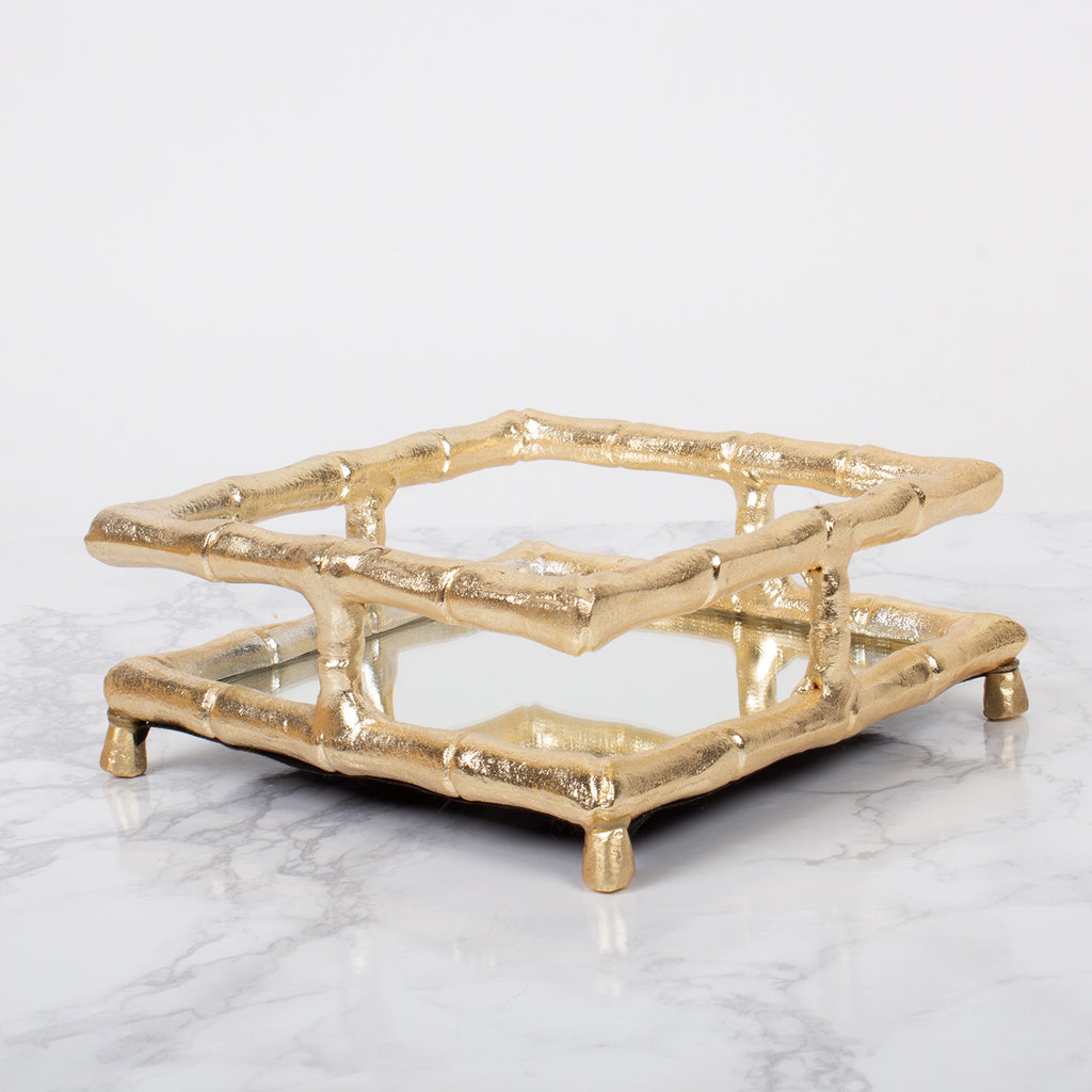 GOLD BAMBOO BEVERAGE NAPKIN HOLDER