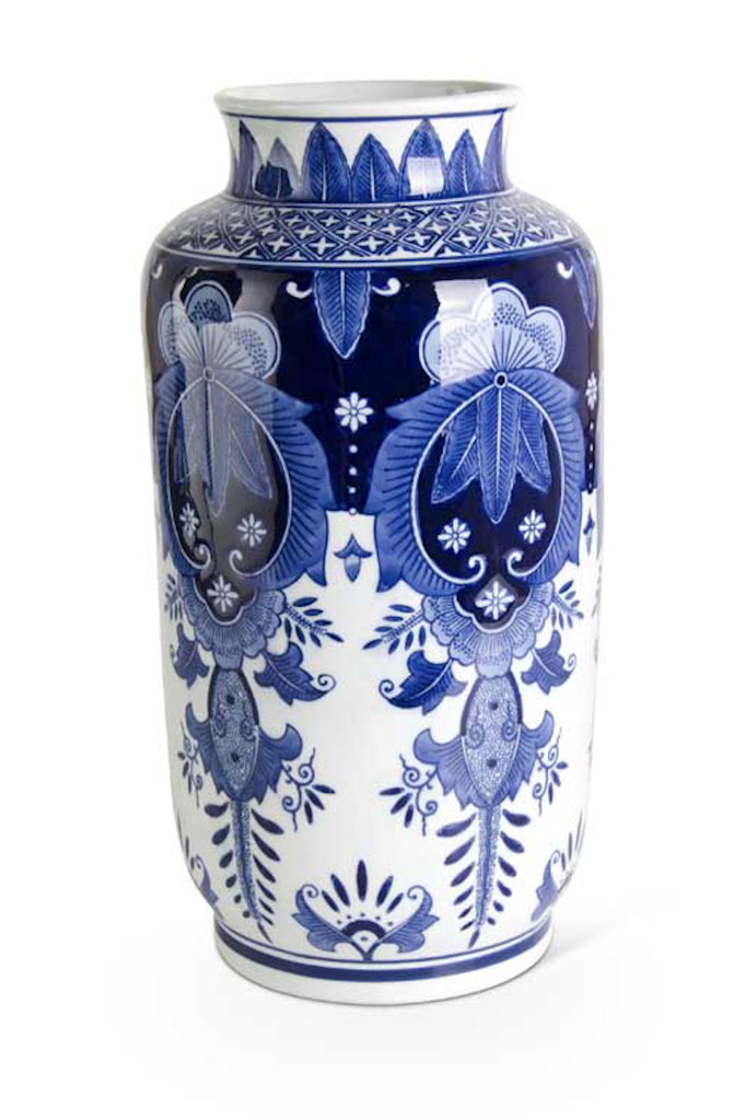 "15.5"" Blue and White Tall Vase"
