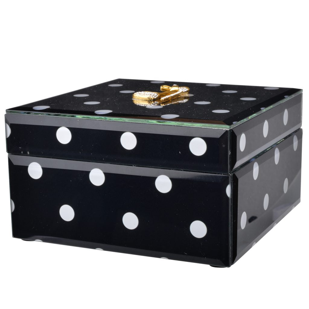 Black Polka Dot Glass Box