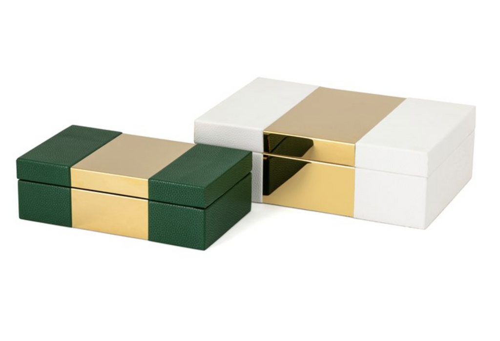 S/2 Pongo Faux Leather Boxes