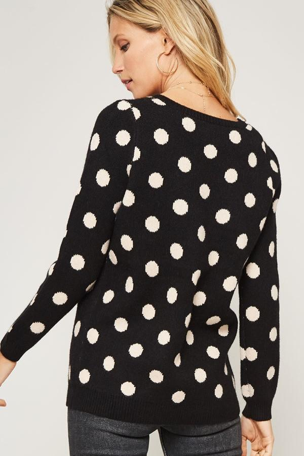 Black/White Polka Dot Sweater