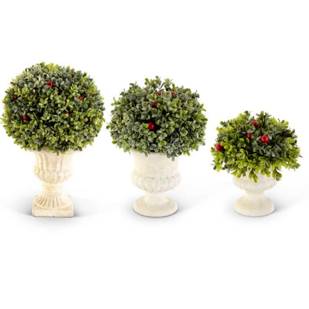 Set of 3 Glittered Mistletoe Topiaries