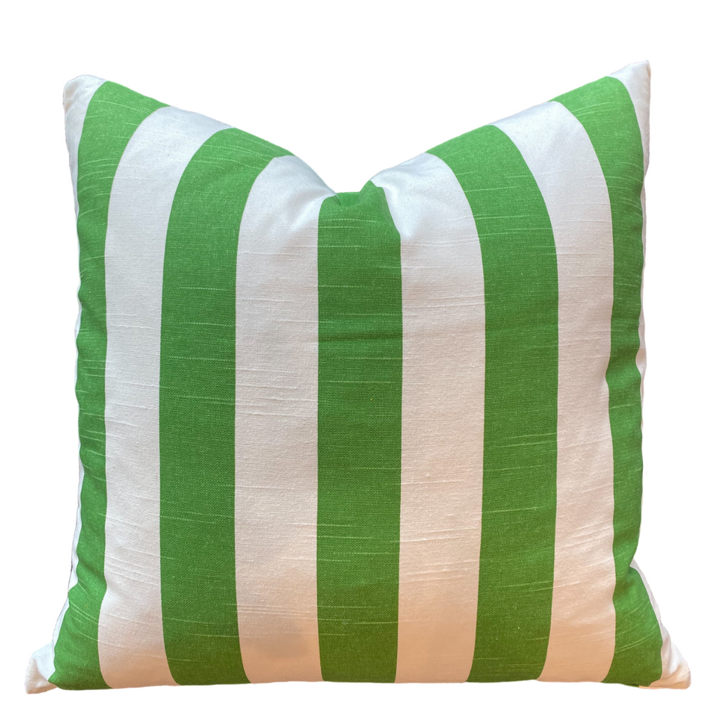 Striped Green & White Pillow