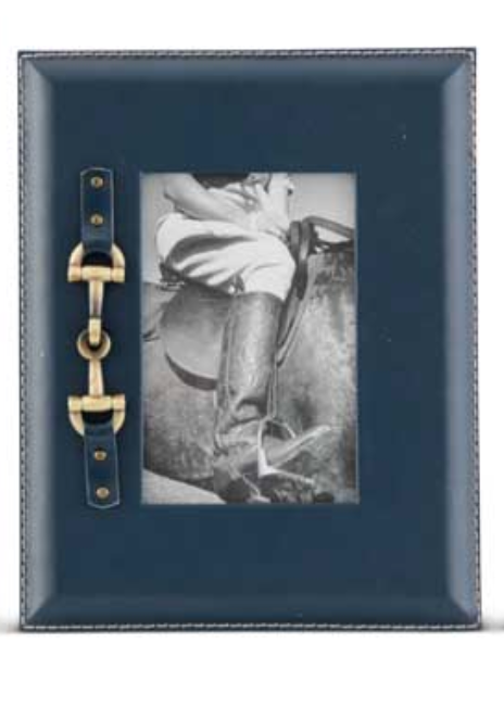 Navy Medium Photo Frame w/Gold Horse Bit
