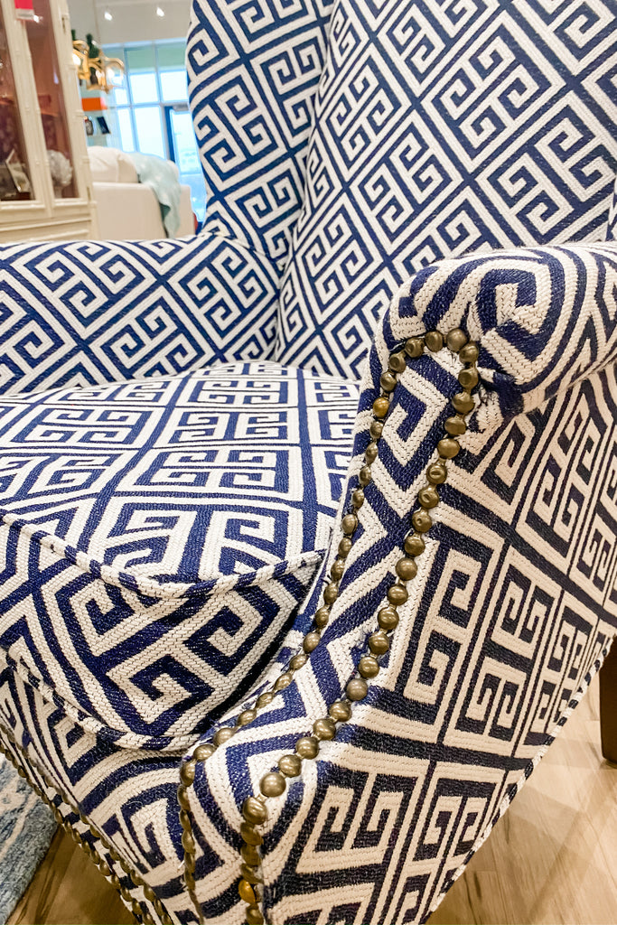 Greek Key Wingback