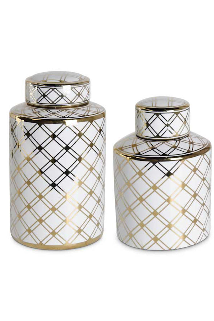 Medium Jar With Gold Lattice Pattern