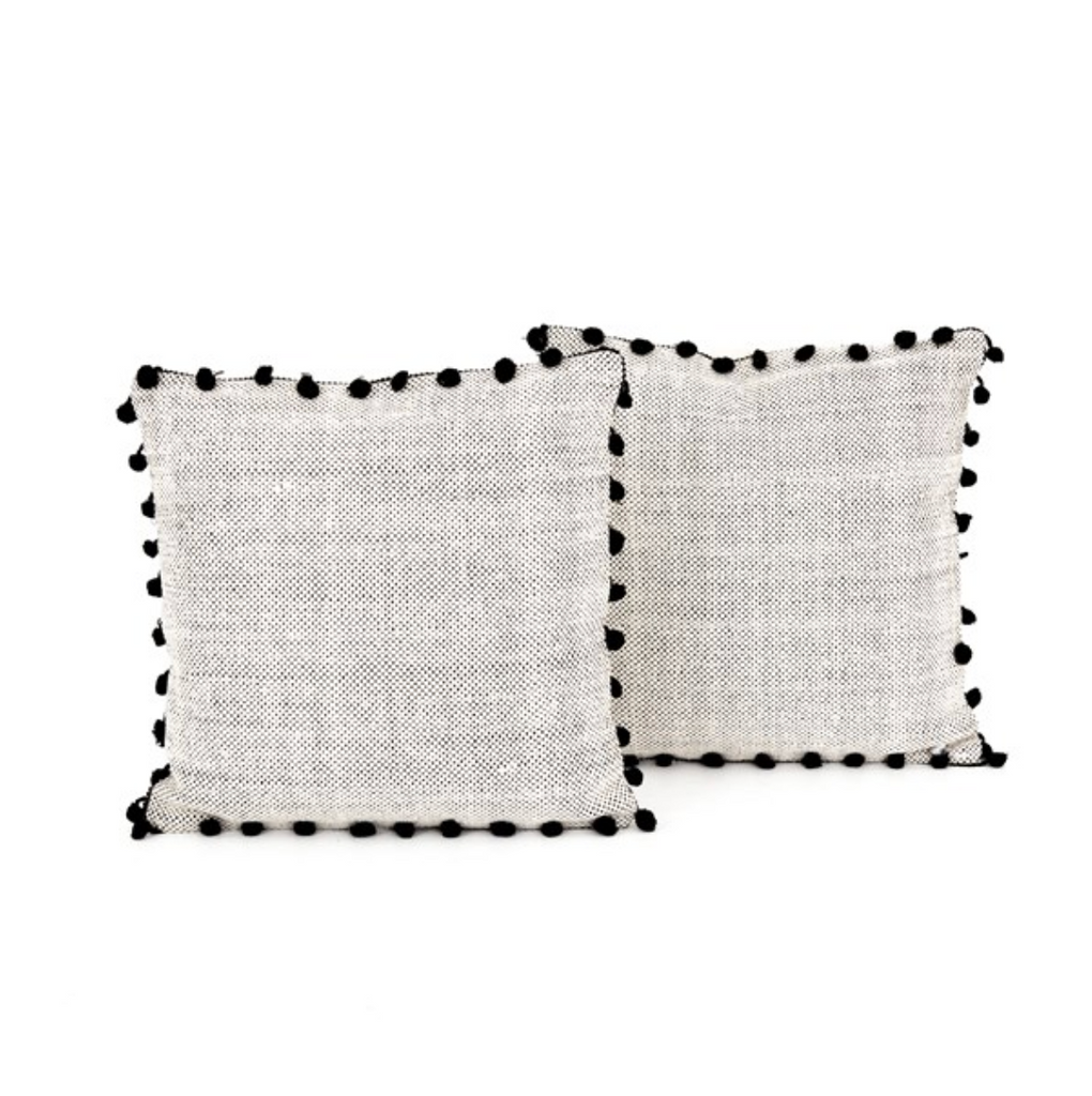 Black Fringe Pillows