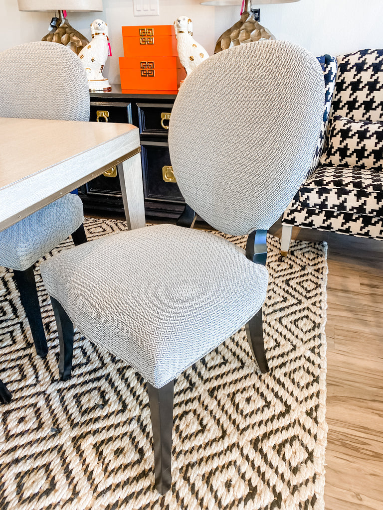 Amelia Side Chair in Black Geometric Crypton