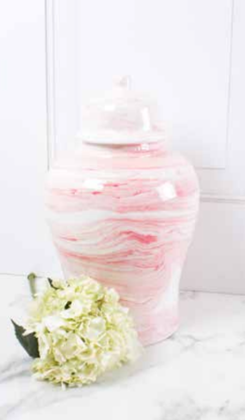 Pink Marbled Ginger Jar