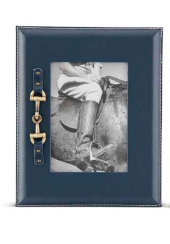 Navy Large Photo Frames w/Gold Horse Bit