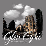 "Close-up detail of a design featuring a castle and the words ""Glen Eyrie"" in a brush font."