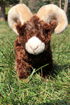 A stuffed bighorn sheep toy in grass.