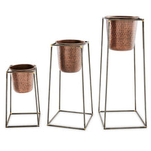 Load image into Gallery viewer, Nested Copper Pot + Stand Set of 3