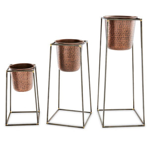 Nested Copper Pot + Stand Set of 3