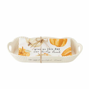 Pumpkin Bread Bowl Platter Towel Set