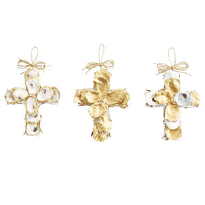 Gold Oyster Cross Ornament