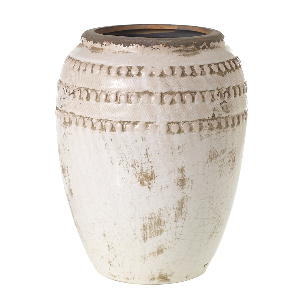 Crackled Cream Terra Cotta Pot