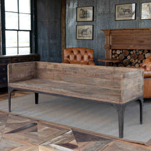 Load image into Gallery viewer, Reclaimed Pine + Metal Deep Bench
