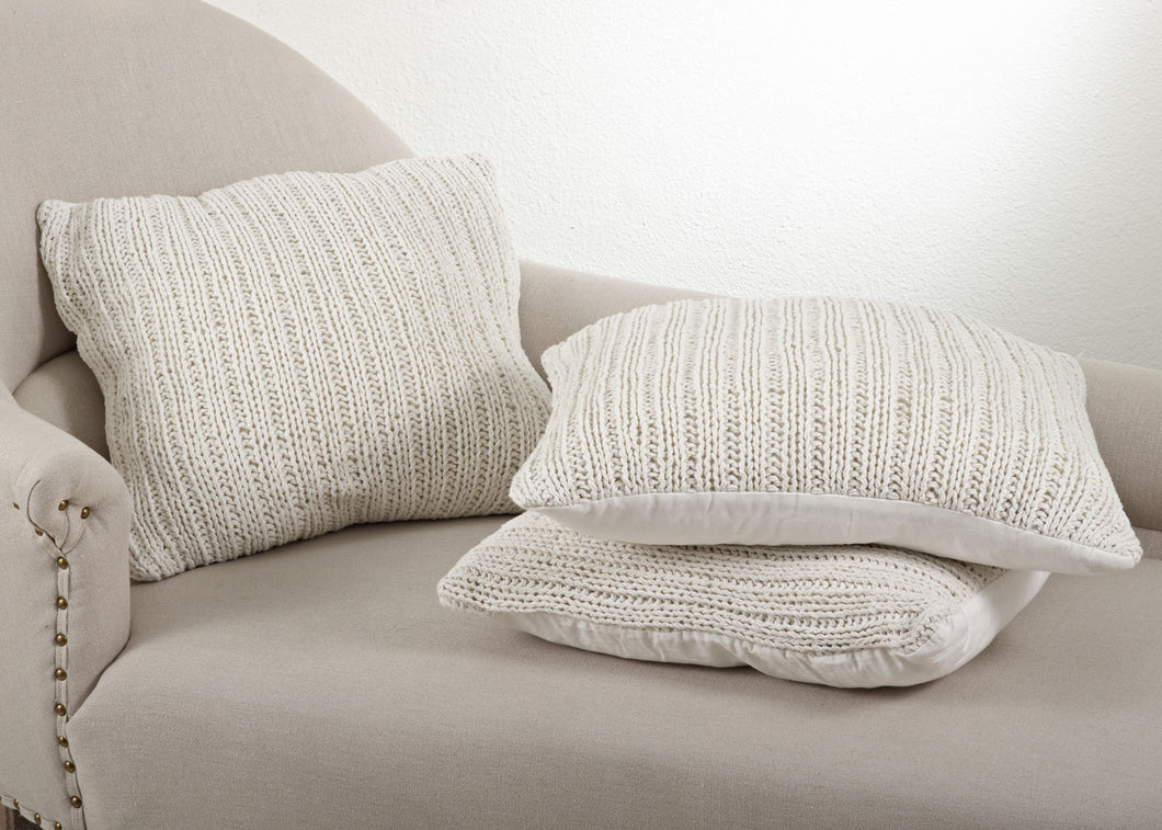 Ivory Knit Down Pillow
