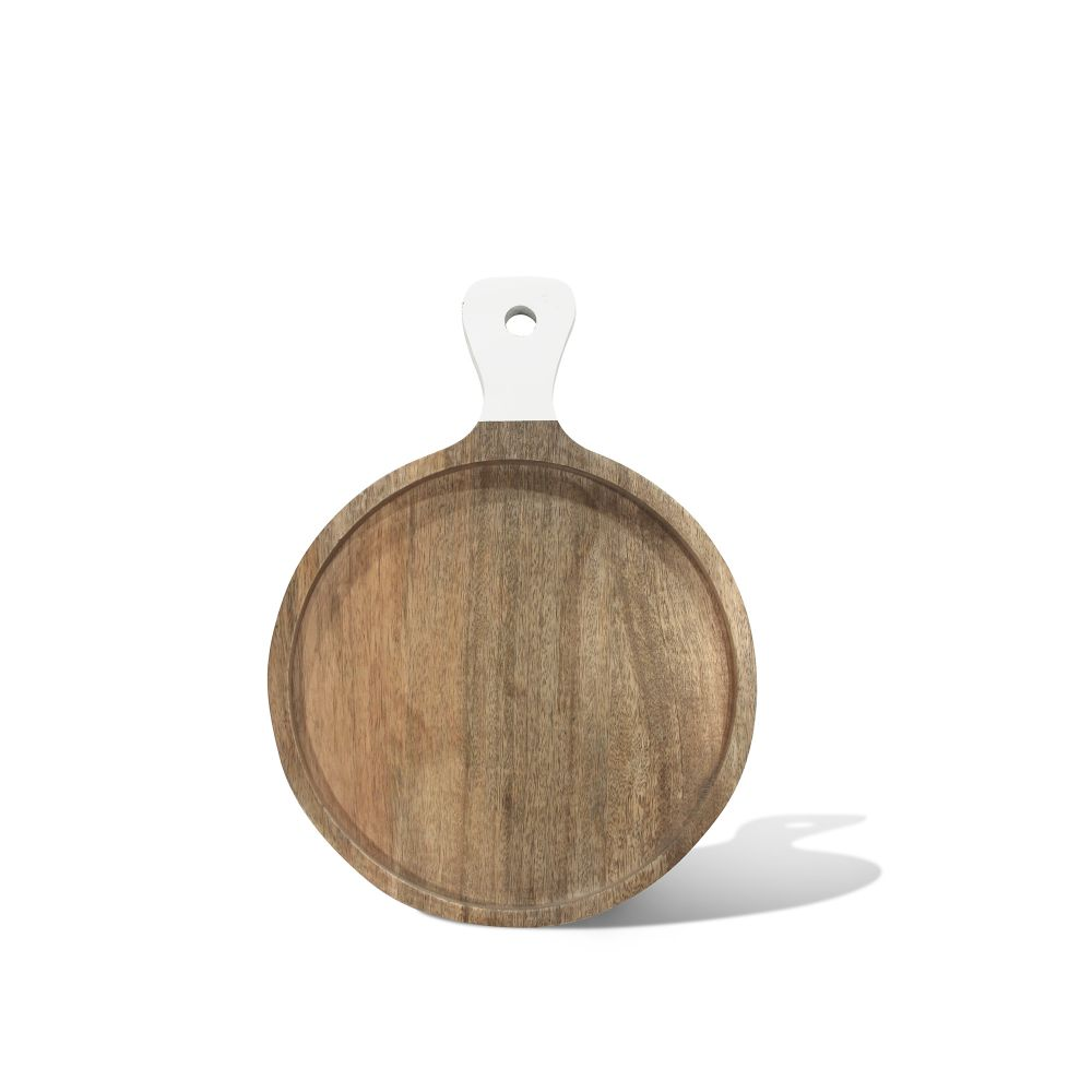 Round Cutting Board- White Handle Small