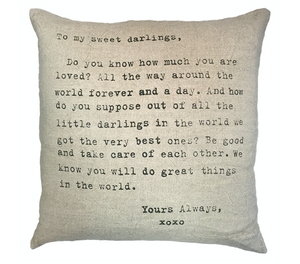 To My Sweet Darling Linen Down Pillow