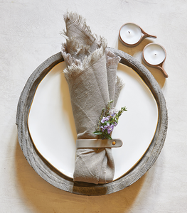 Leather Napkin Rings- Grey
