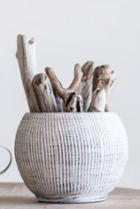 Cream Terra-cotta Textured Planter
